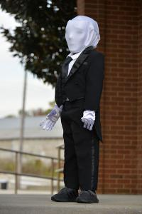 "Bryce Hollis, 4, of Twin sisplays his ""Slender Man"" costume"